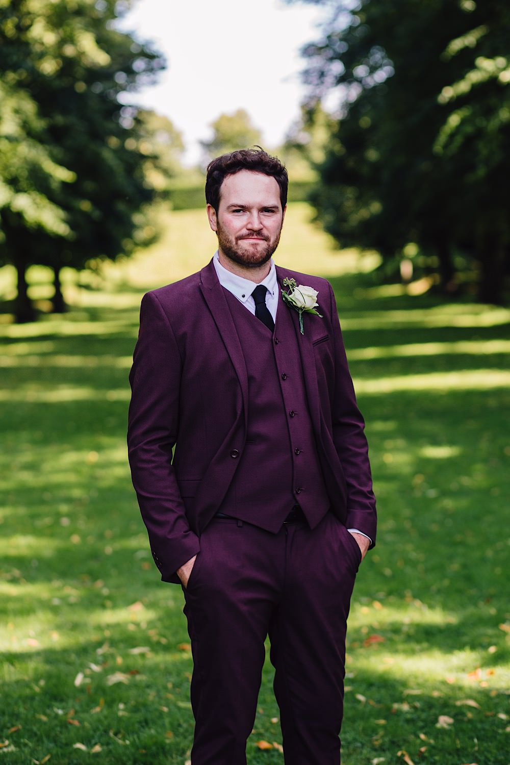 Burgundy Suit Groom Black Tie Great Fosters Wedding Roo Stain Photography
