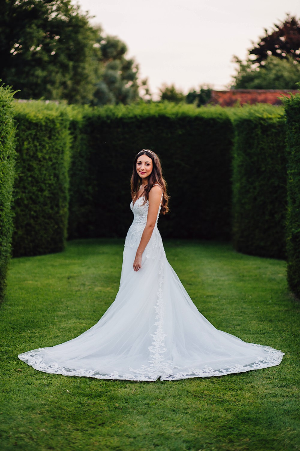 Bride Bridal Lace Dress Gown Veil Essense of Australia Great Fosters Wedding Roo Stain Photography
