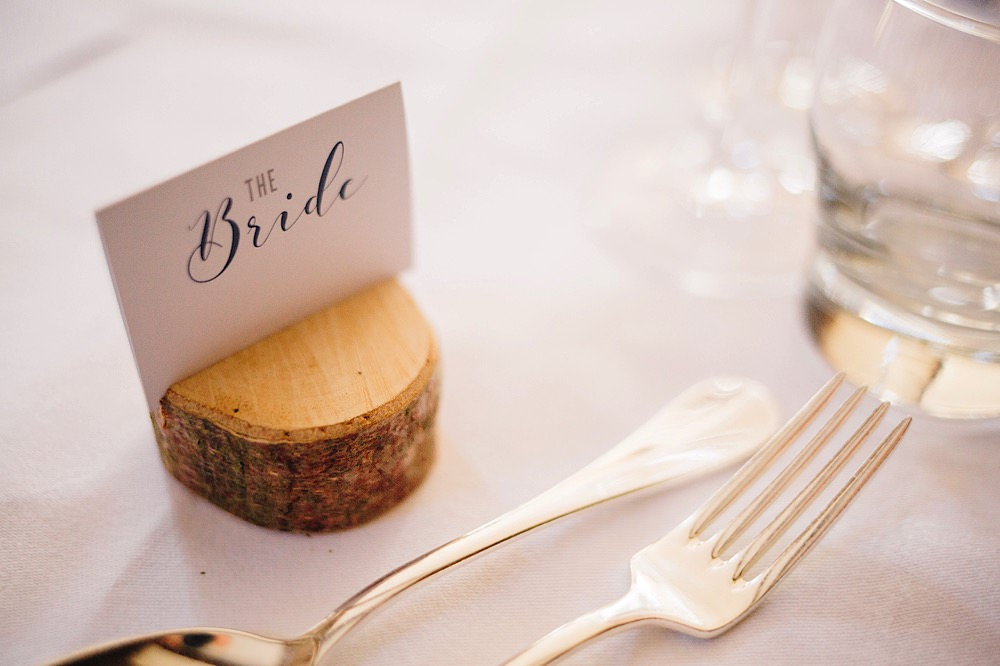 Place Name Setting Log Slice Great Fosters Wedding Roo Stain Photography