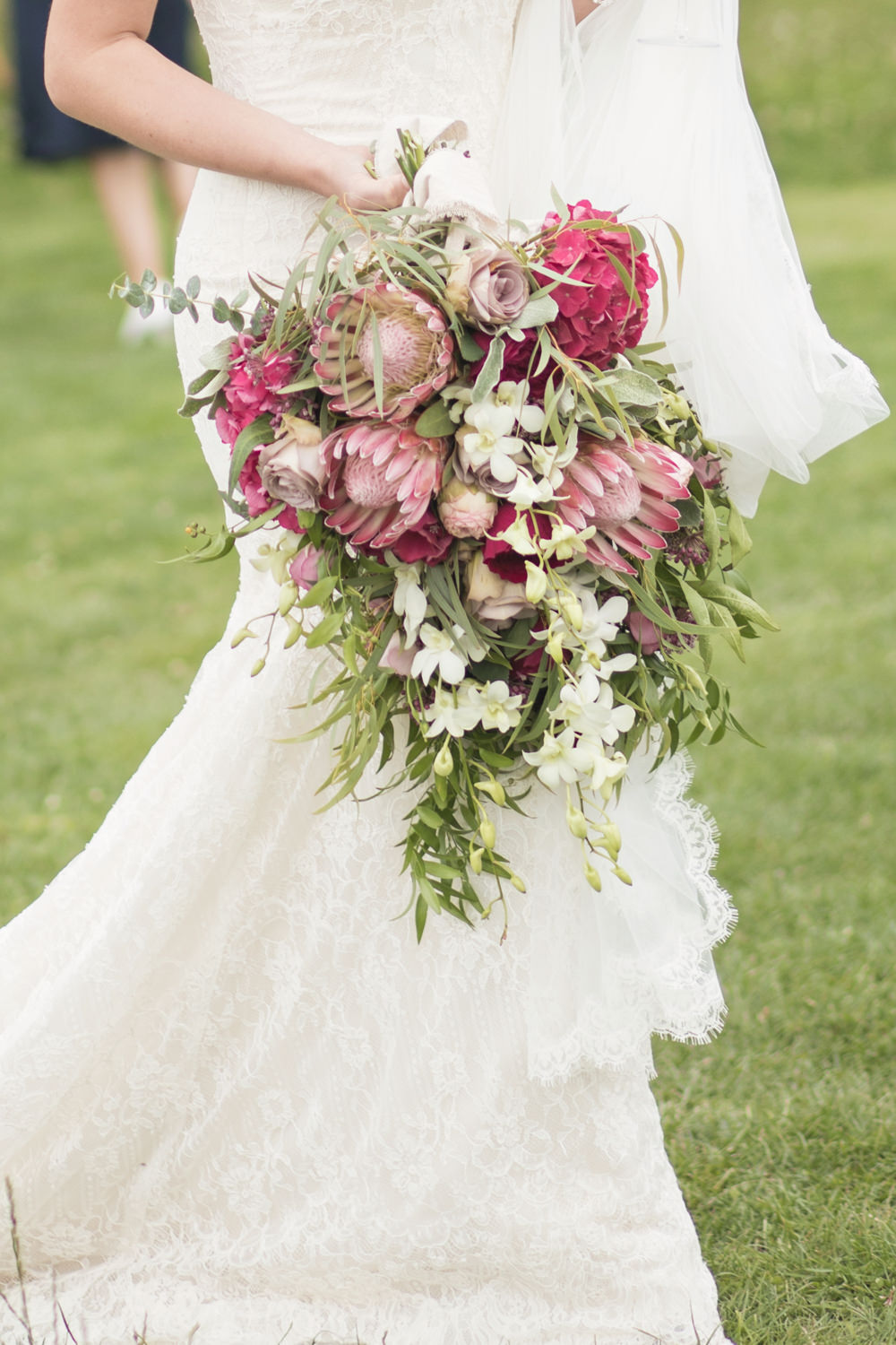 Flowers Bouquet Bride Bridal Red Pink Protea Hydrangea Rose Greenery House Meadow Wedding Kerry Ann Duffy Photography