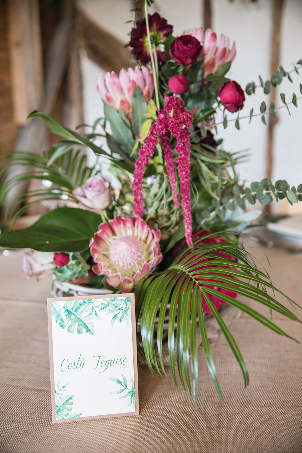 Flowers Table Name Tropical Centrepiece Protea Rose House Meadow Wedding Kerry Ann Duffy Photography