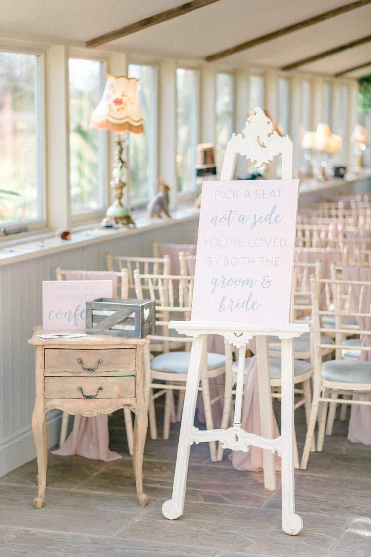 PasteL Pink Ceremony Sign Newton Hall Wedding Sarah-Jane Ethan Photography