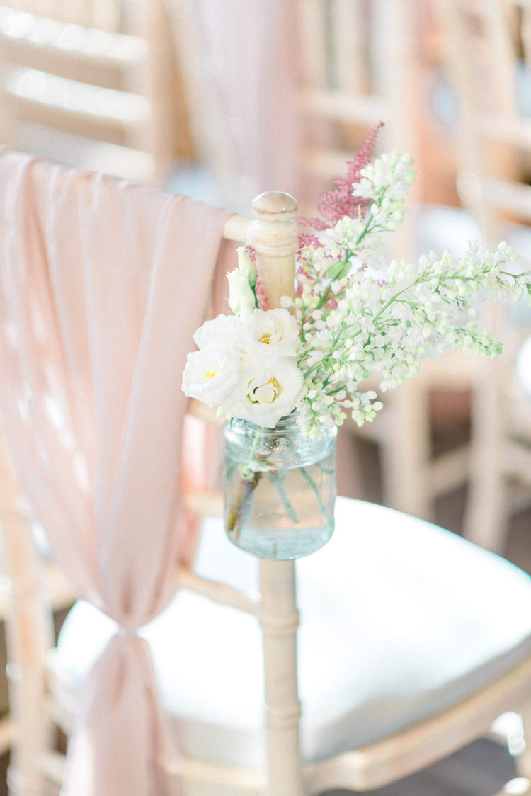 Chair Covers Drapes Pink Flowers Aisle Ceremony Jars Freesia Newton Hall Wedding Sarah-Jane Ethan Photography