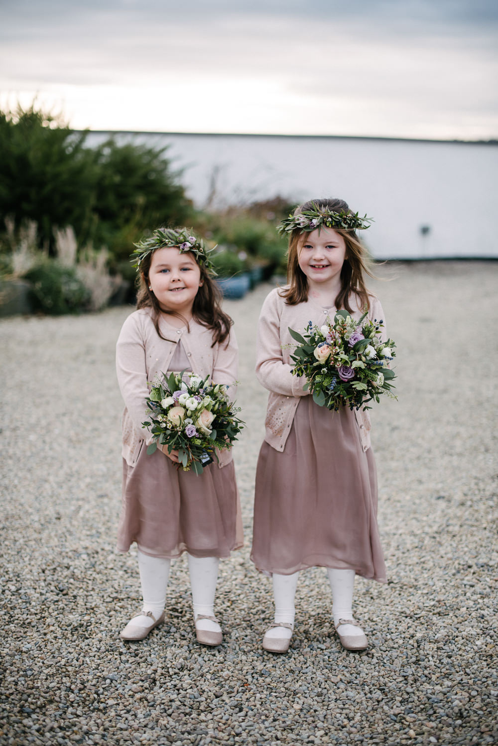 Flower Girls Greenery Crown Bouquets Cardigans Orange Tree House Wedding Winter You Them Us Photography