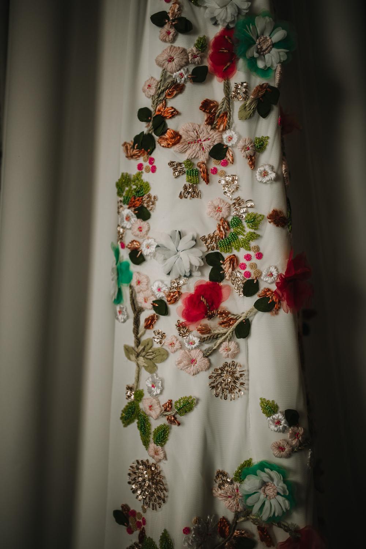 Outdoor Seville Destination Villa White Floral Flamenco Colorful White Dress | Colorful and Heartfelt Wedding in Spain Boda&Films