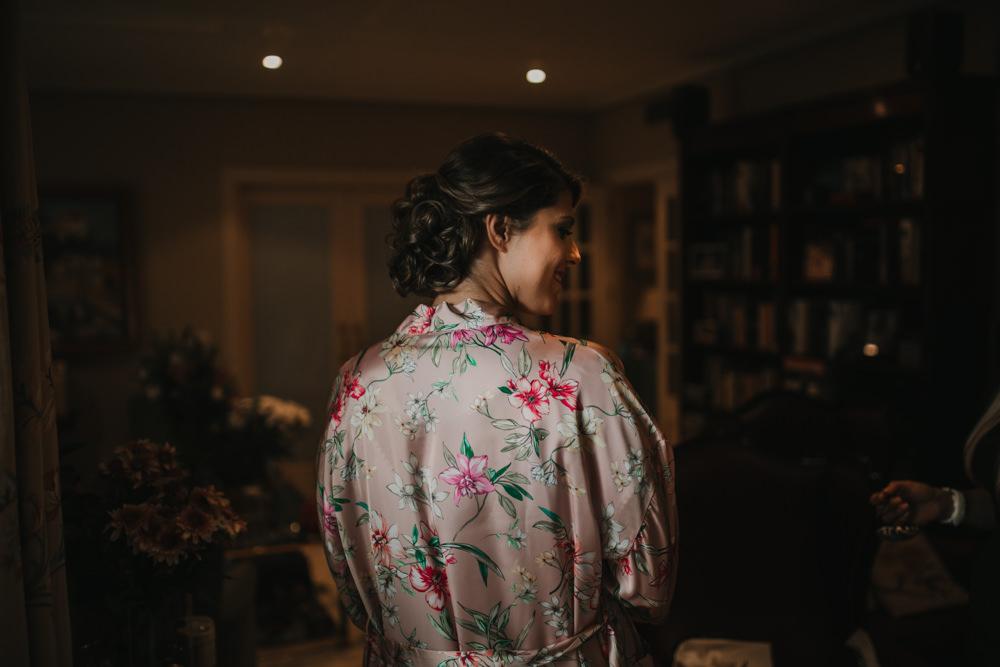 Outdoor Seville Destination Villa Bride Floral Robe Morning | Colorful and Heartfelt Wedding in Spain Boda&Films