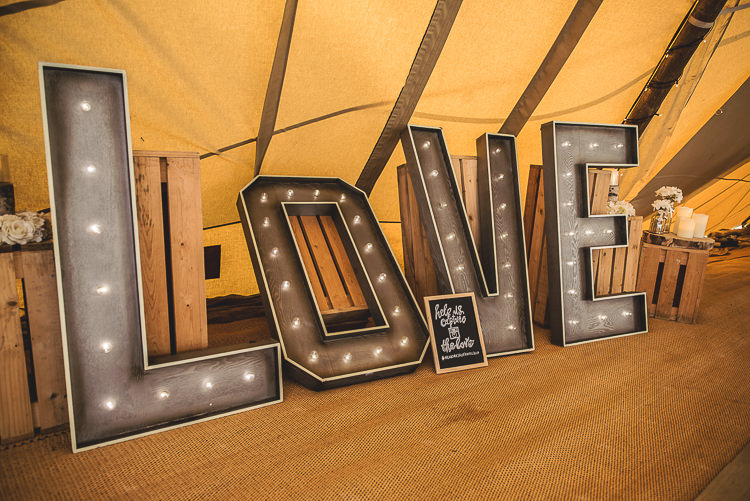 LOVE Letter Lights Tipi Garden Wedding Wedding Foxley Photography