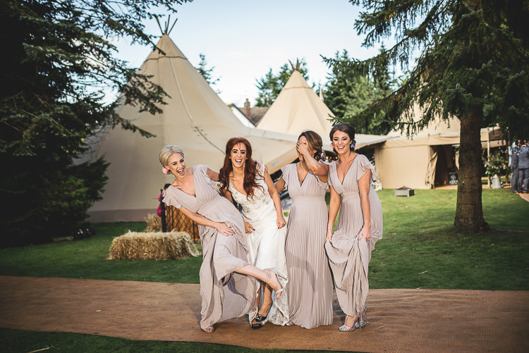 Long Dusky Pink Bridesmaid Dress Tipi Garden Wedding Wedding Foxley Photography
