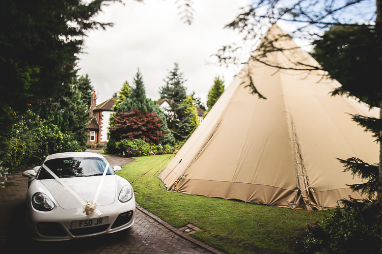 Porsche Car Transport Tipi Garden Wedding Wedding Foxley Photography