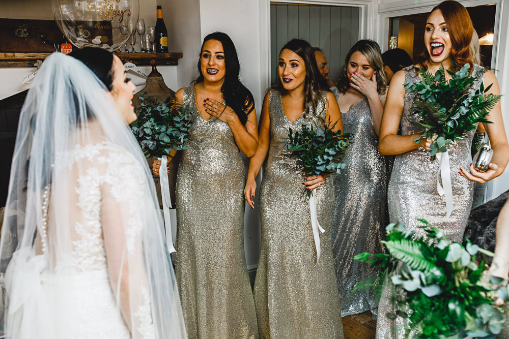 Silver Sequin Bridesmaid Dresses West Mill Wedding HBA Photography