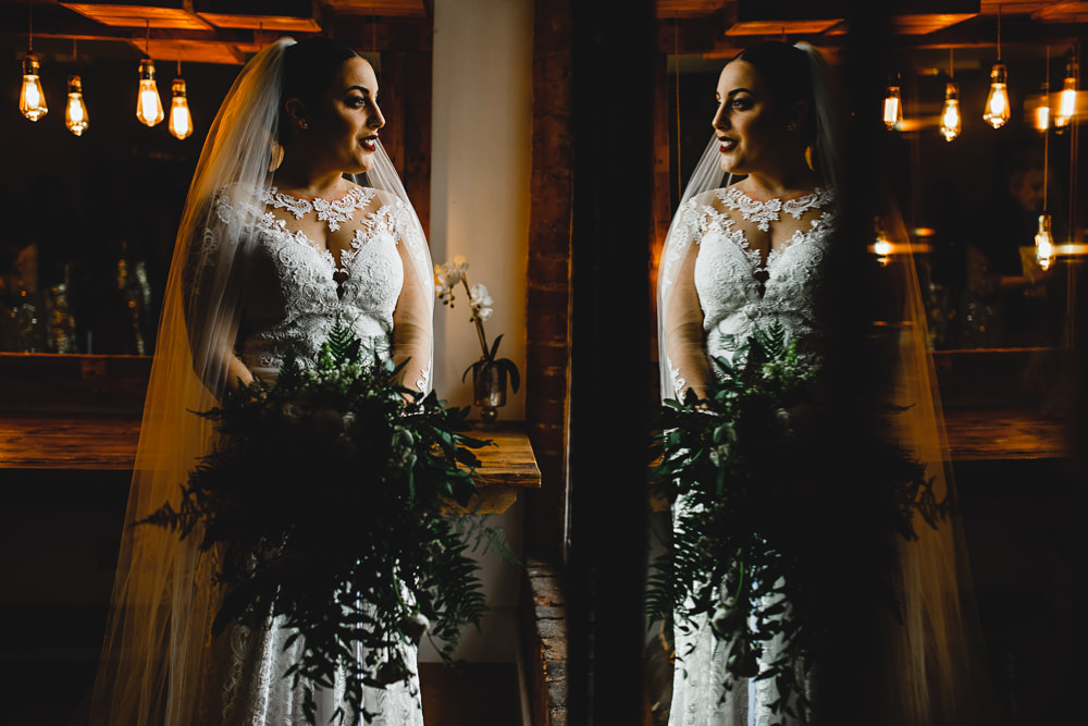 Lace Dress Gown Bride Bridal Veil Train Sleeves Bow Back Greenery Bouquet West Mill Wedding HBA Photography