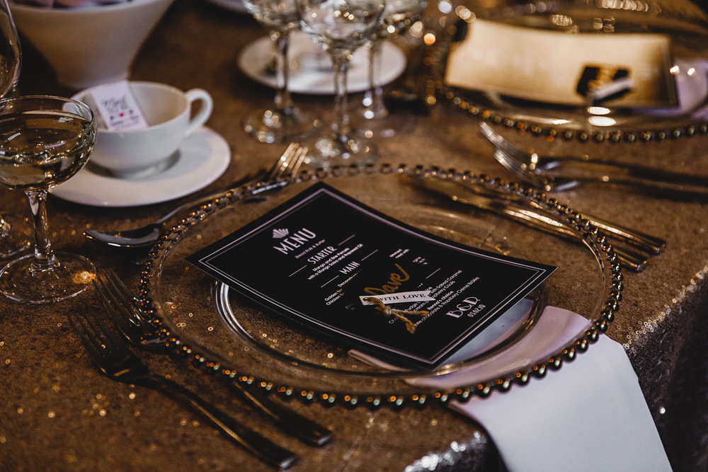 Place Setting Menu Charger Plates Gold Sequin West Mill Wedding HBA Photography