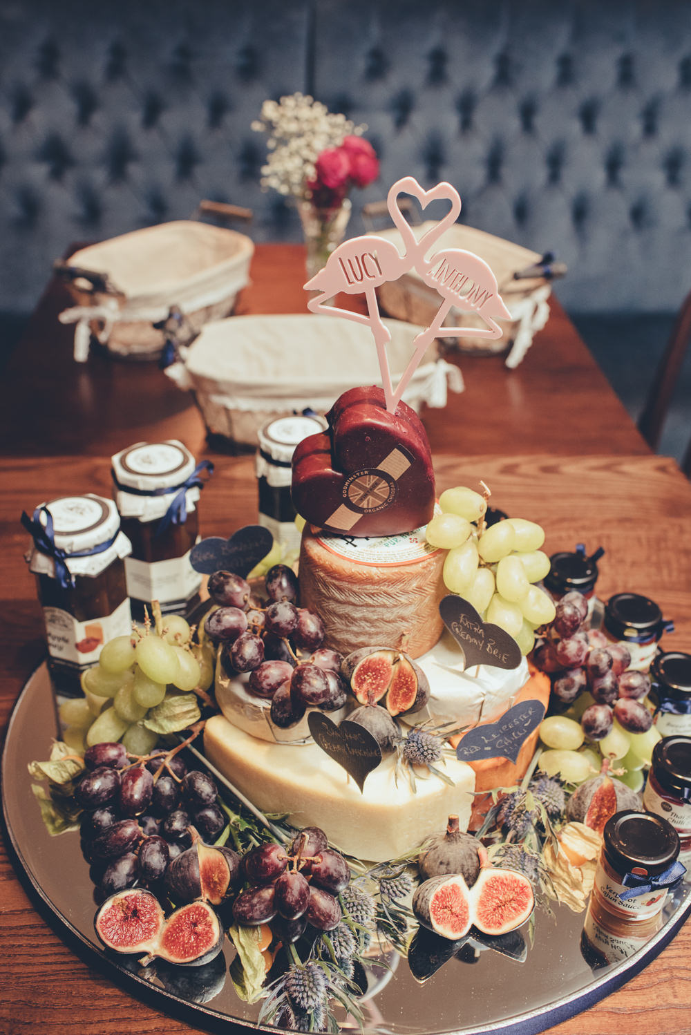 Cheese Tiered Cake Display Chutney Grapes Board 60 Hope Street Wedding Lisa Howard Photography