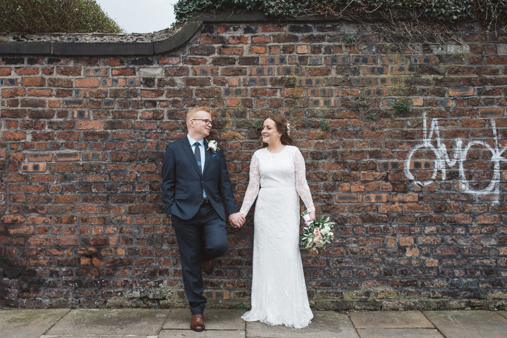 Bride Bridal Lace Long Sleeve Savannah Miller Dress Gown Navy Hugo Boss Groom Pink Rose Bouquet 60 Hope Street Wedding Lisa Howard Photography