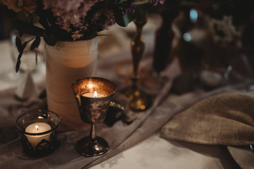 Table Tablescape Decor Fowers Silk Runner Candles Gold Barn Wedding Ideas Thyme Lane Photography