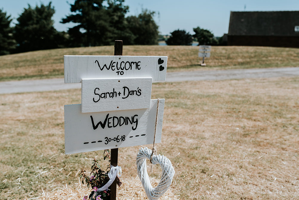 Painted Wooden Sign Post Welcome Blithfield Lakeside Barns Wedding Daniel McClane Photography
