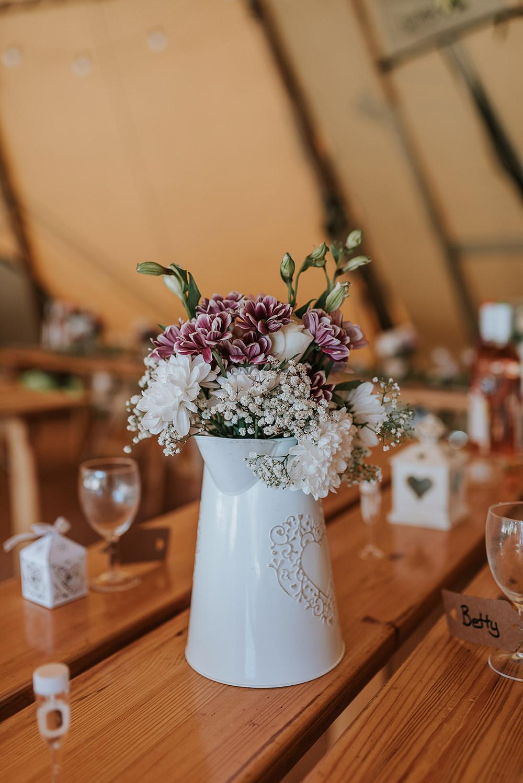 Jug Flowers Tables Tipi Blithfield Lakeside Barns Wedding Daniel McClane Photography