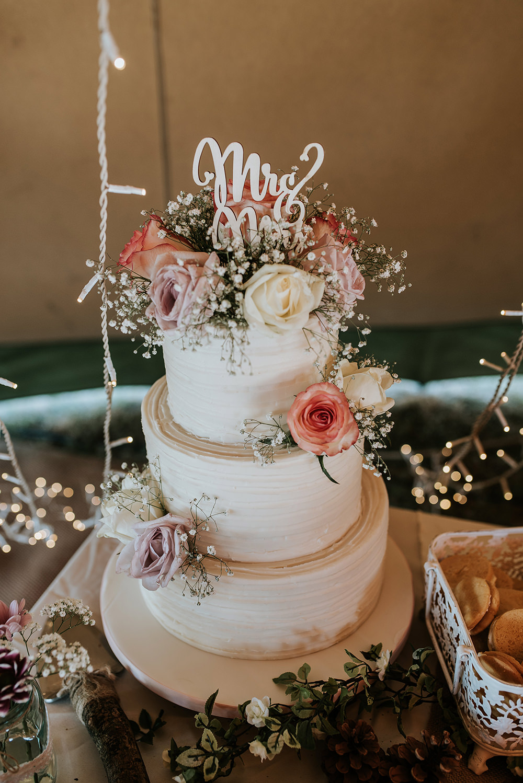 Buttercream Cake Flowers Laser Cut Topper Mrs Mr Blithfield Lakeside Barns Wedding Daniel McClane Photography