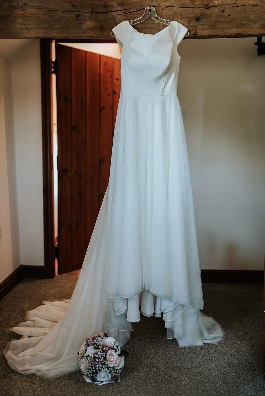 Essense of Australia Dress Gown Bride BRidal Train Boat Neck Tulle Blithfield Lakeside Barns Wedding Daniel McClane Photography