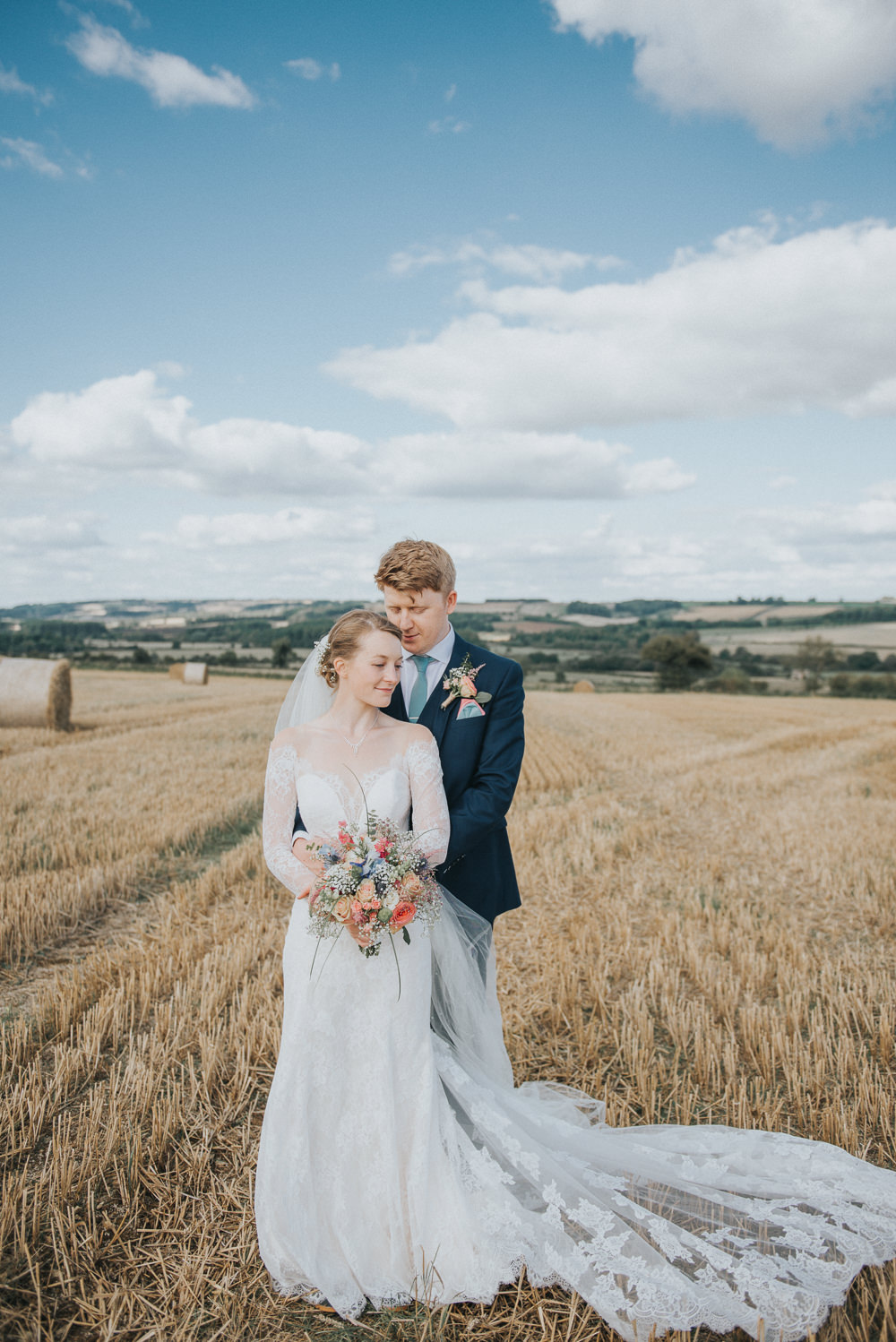 Lace Dress Gown Bride Bridal Sleeves Buttons Illusion Plunge Long Fit Flare Train Veil Countryside Wedding Cotswolds Kate Waters Photography