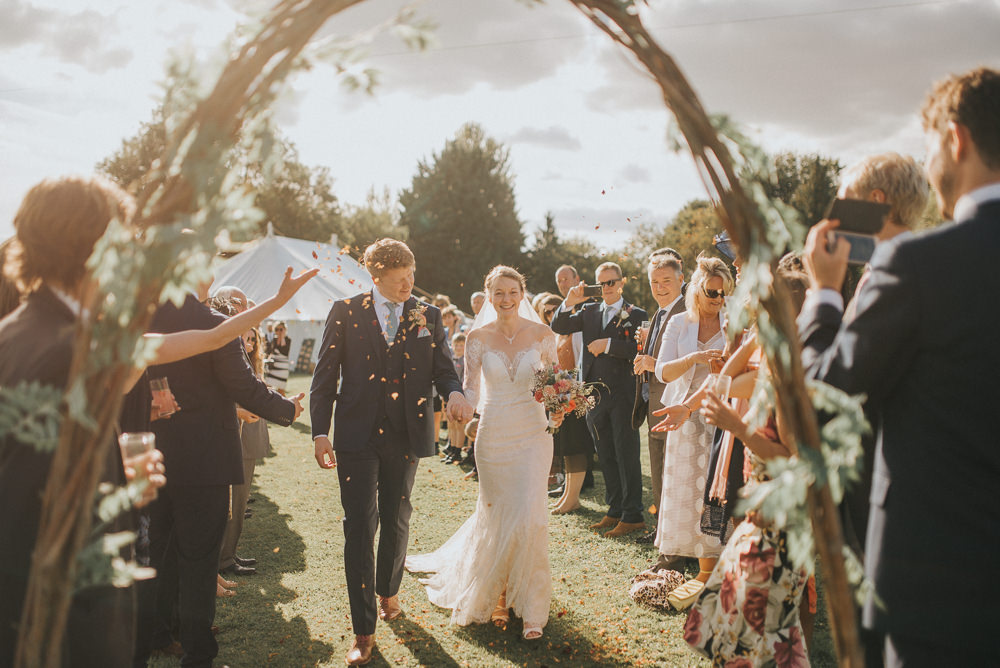 Willow Hazel Arch Greenery Bunting Aisle Confetti Countryside Wedding Cotswolds Kate Waters Photography