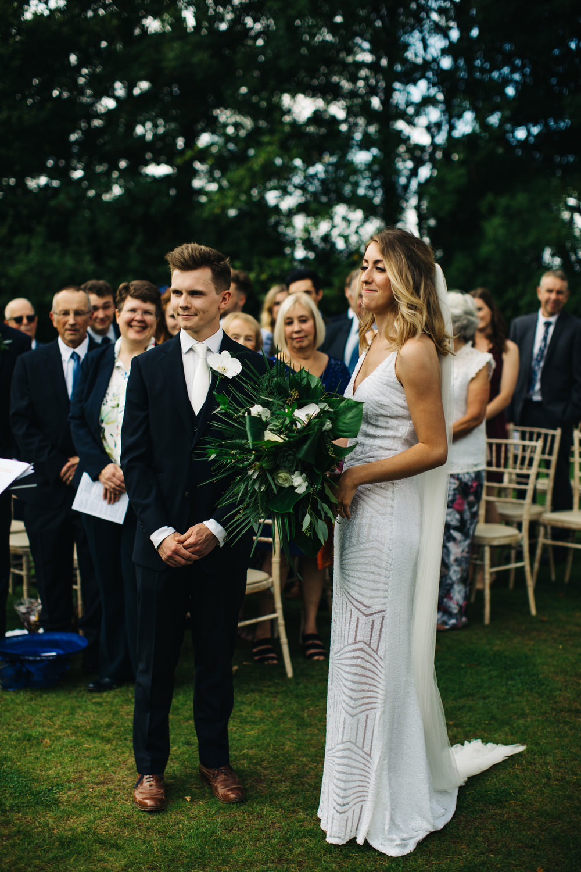 Sequin Dress Bride Bridal Gown Spaghetti Straps Spilt Skirt Deer Park Country House Hotel Wedding Richard Skins Photography