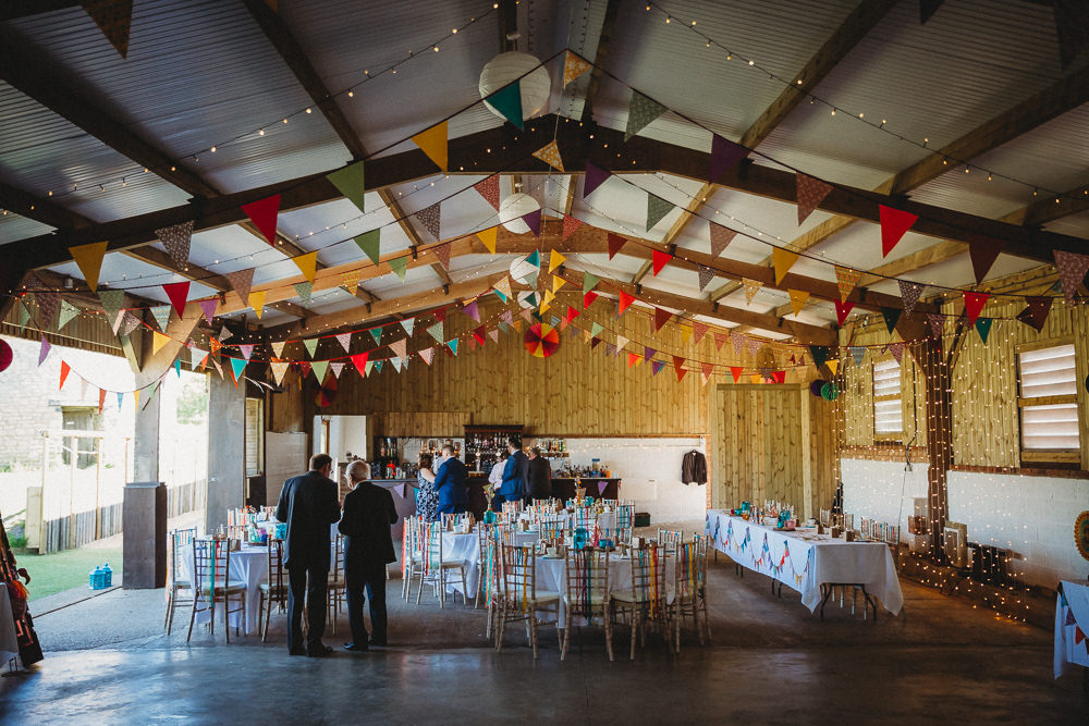 Rainbow Colourful Barn Bunting Ribbons Furtho Manor Farm Wedding Ben Cotterill Photography