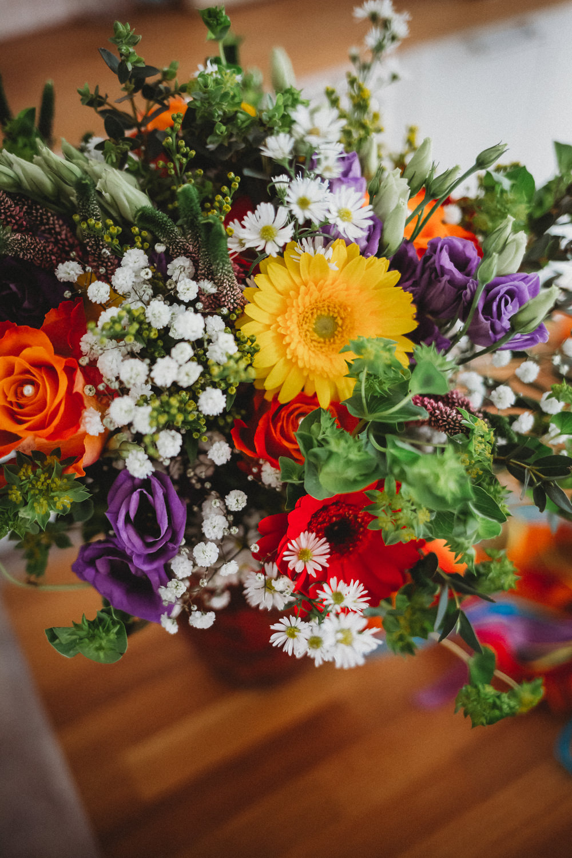 Bouquet Flowers Rainbow Colourful Gerbera Daisy Gypsophila Freesia Bride Bridal Ribbon Furtho Manor Farm Wedding Ben Cotterill Photography