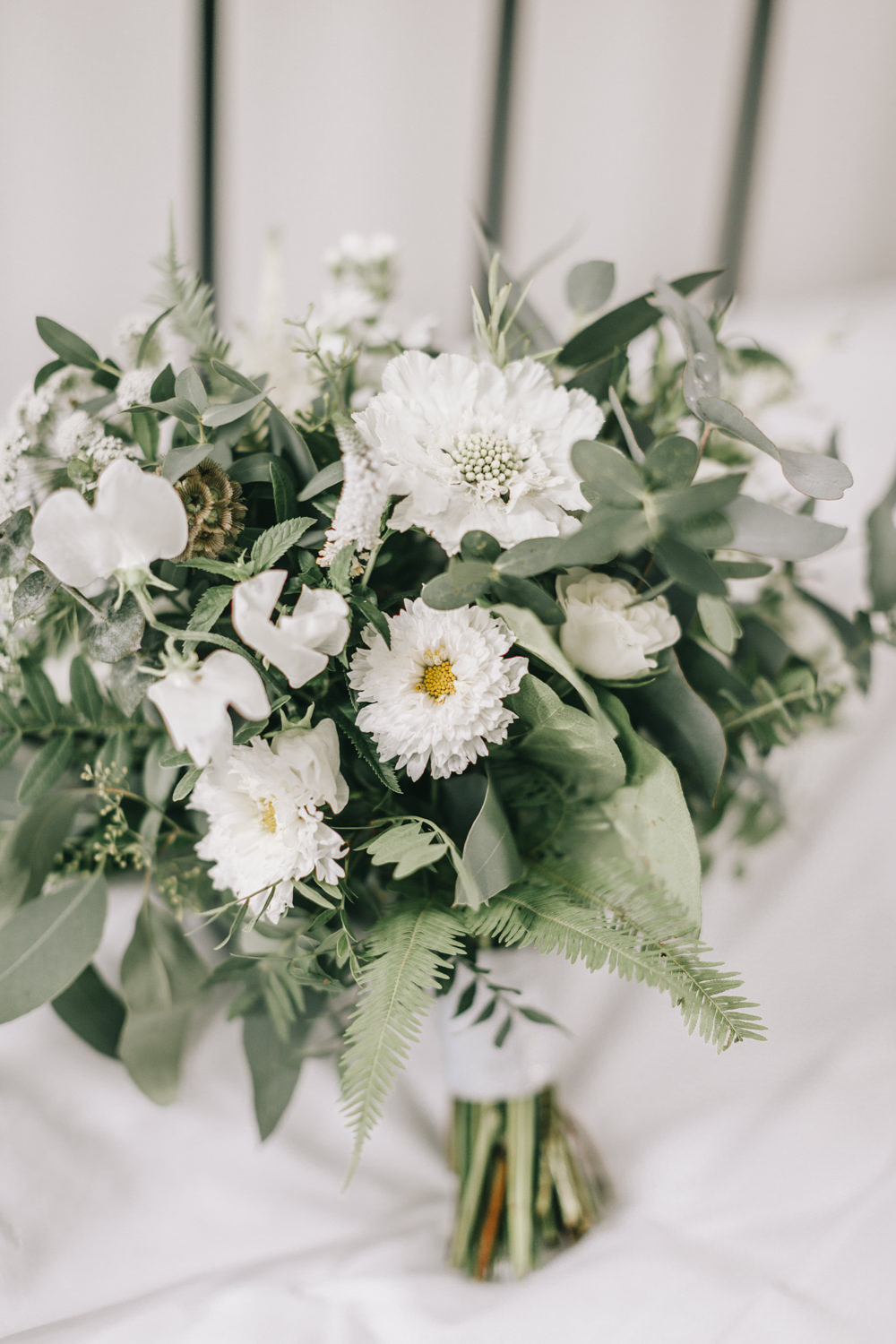 Bouquet Flowers Bride Bridal White Greenery Foliage Sweet Peas Fern Healey Barn Wedding Amy Lou Photography