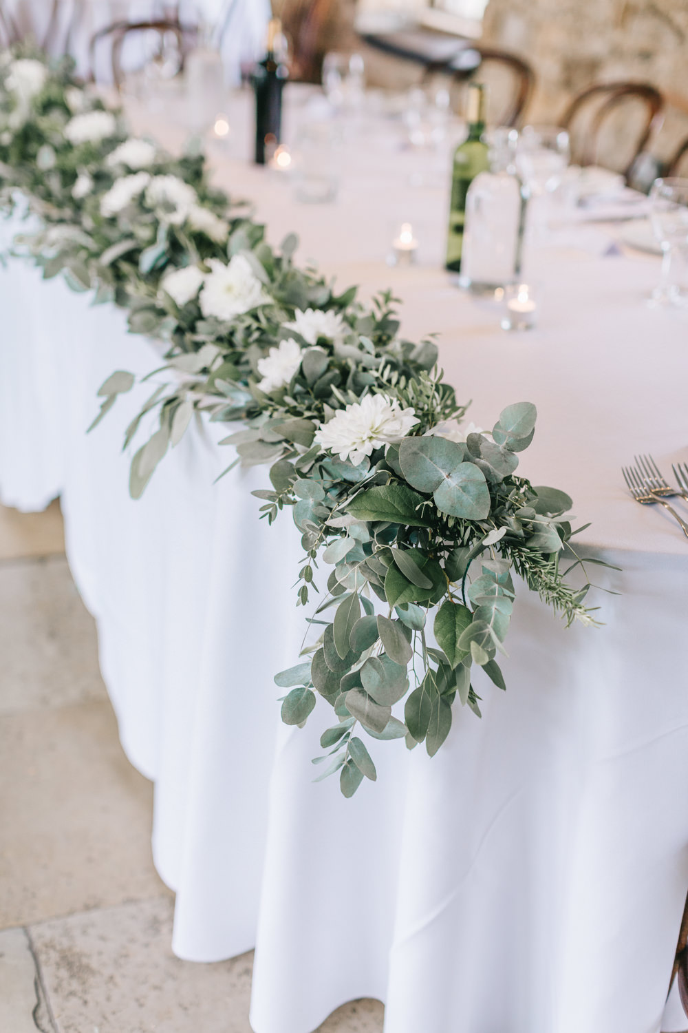 Table Flowers Swag Garland White Greenery Foliage Sweet Peas Fern Healey Barn Wedding Amy Lou Photography