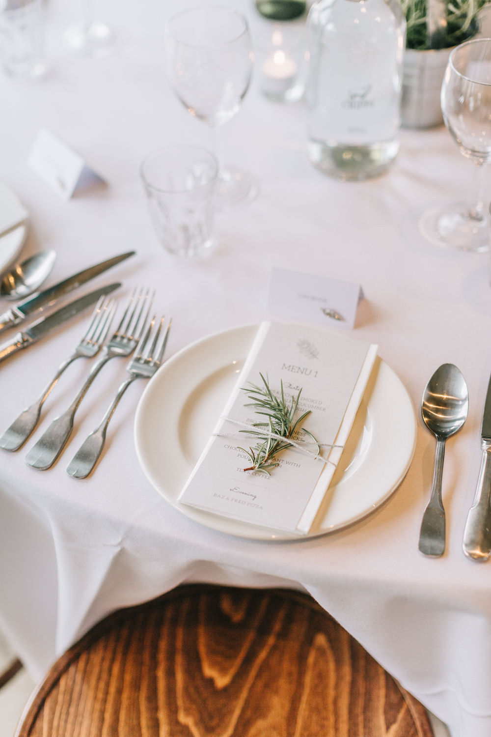 Rosemary Place Setting Menu Stationery Healey Barn Wedding Amy Lou Photography