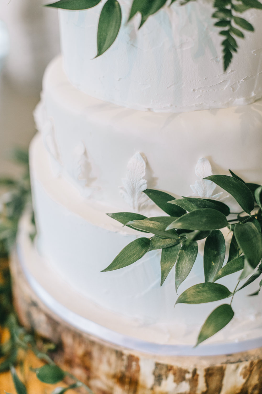 Rustic White Iced Cake Greenery Healey Barn Wedding Amy Lou Photography