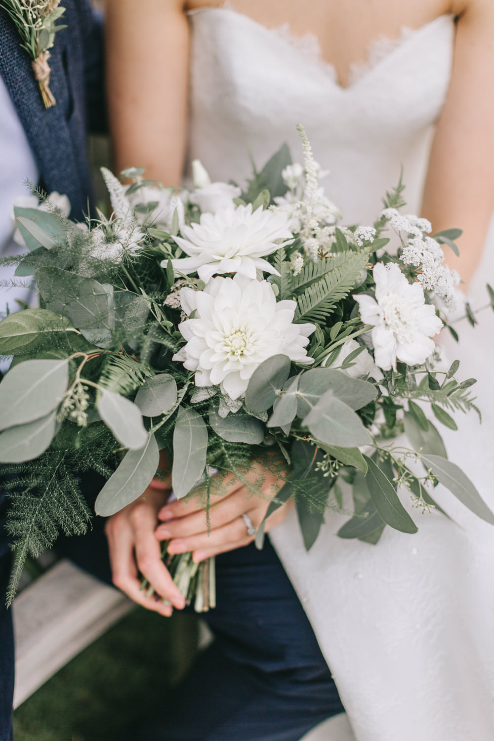 Bouquet Flowers Bride Bridal White Greenery Foliage Sweet Peas Fern Dahlia Healey Barn Wedding Amy Lou Photography