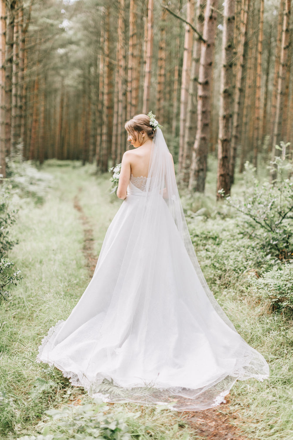 Bride Bridal Dress Gown Lace Strapless A Line Skirt Veil Train Healey Barn Wedding Amy Lou Photography