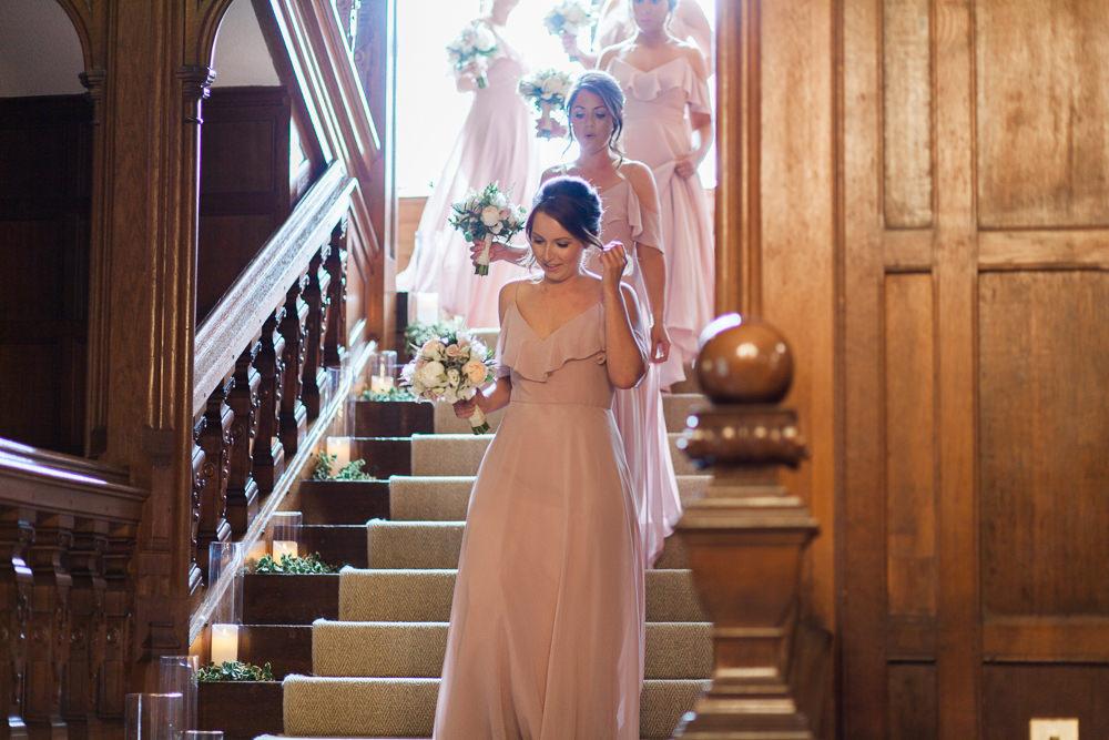 Pink Overlay Dress Bridesmaids Hengrave Hall Wedding Gemma Giorgio Photography