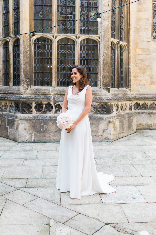 Bride Bridal Dress Gown Cowl Neck Train Peony Blush Pink Posy Bouquet Hengrave Hall Wedding Gemma Giorgio Photography