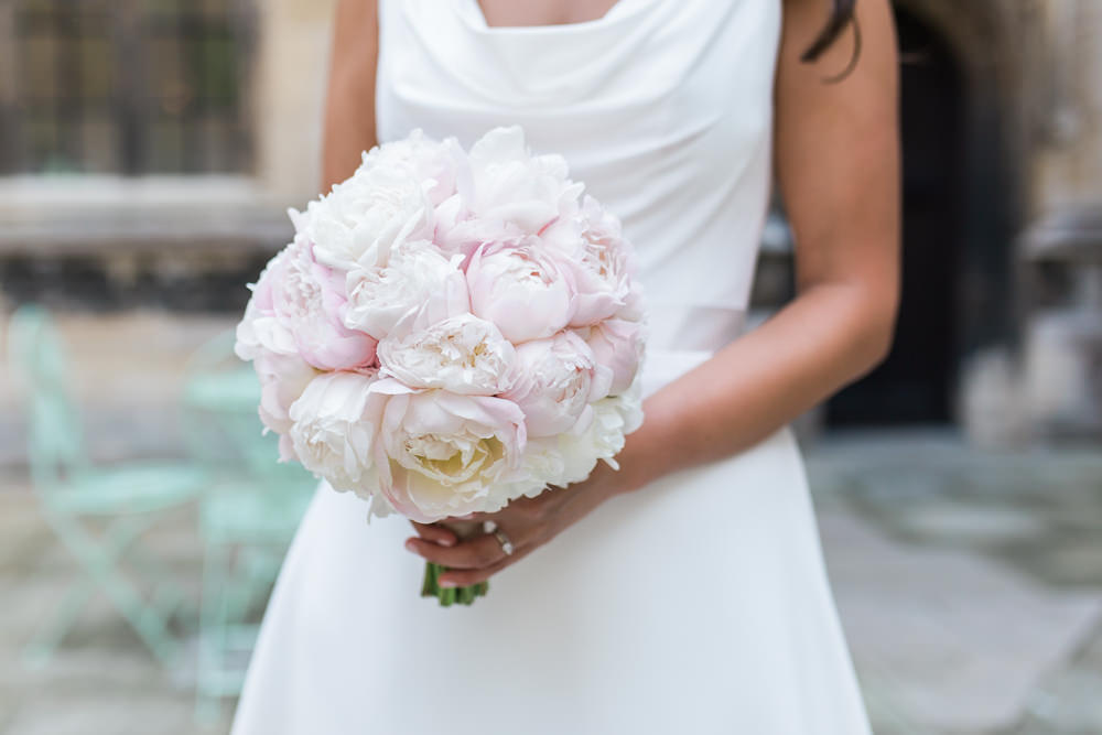 Bride Bridal Bouquet Peony Blush Posy Hengrave Hall Wedding Gemma Giorgio Photography