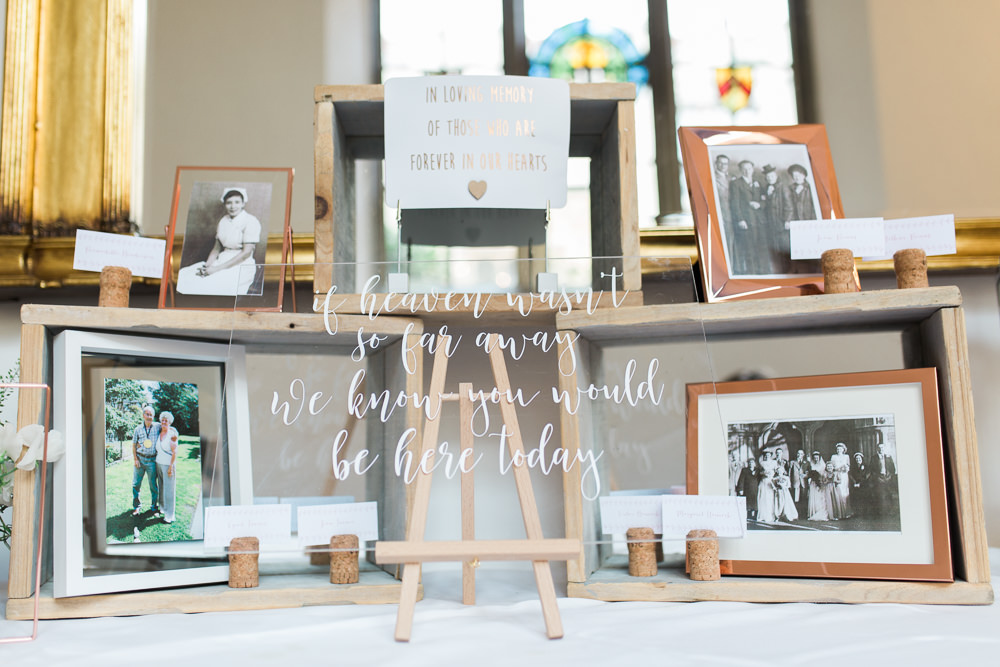 Wooden Box Display Photo Frame Perspex Glass Sign Modern Calligraphy Hengrave Hall Wedding Gemma Giorgio Photography