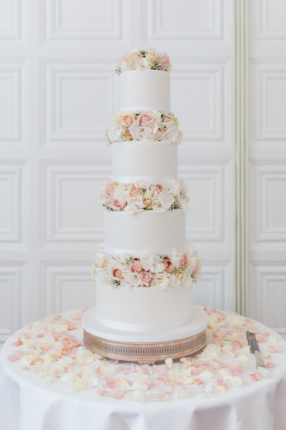 Tiered Cake Flowers Floral Traditional Iced Hengrave Hall Wedding Gemma Giorgio Photography