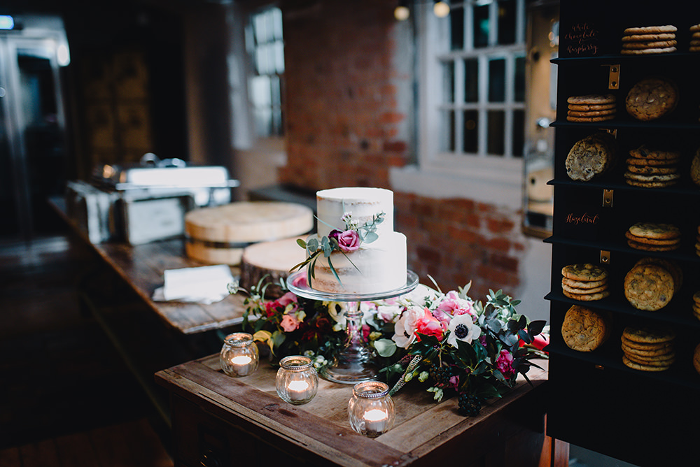 Semi Naked Cake Flowers Candles Table Industrial Winter Wedding Reality Photography