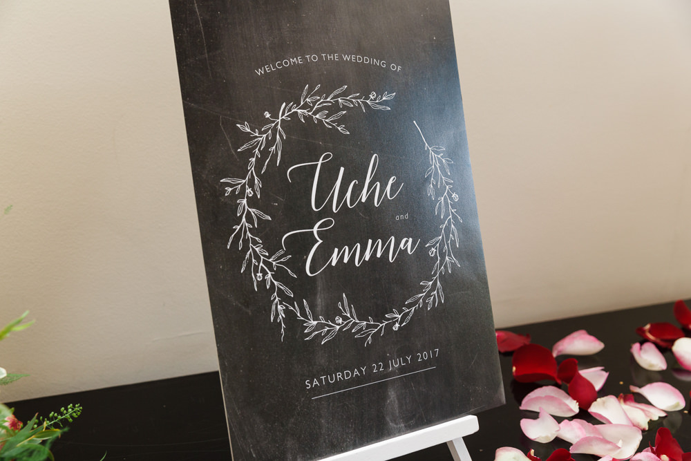 Chalk Board Modern Calligraphy Wreath Easel Red Pink Rose Petals Stoke Place Wedding Hannah McClune Photography