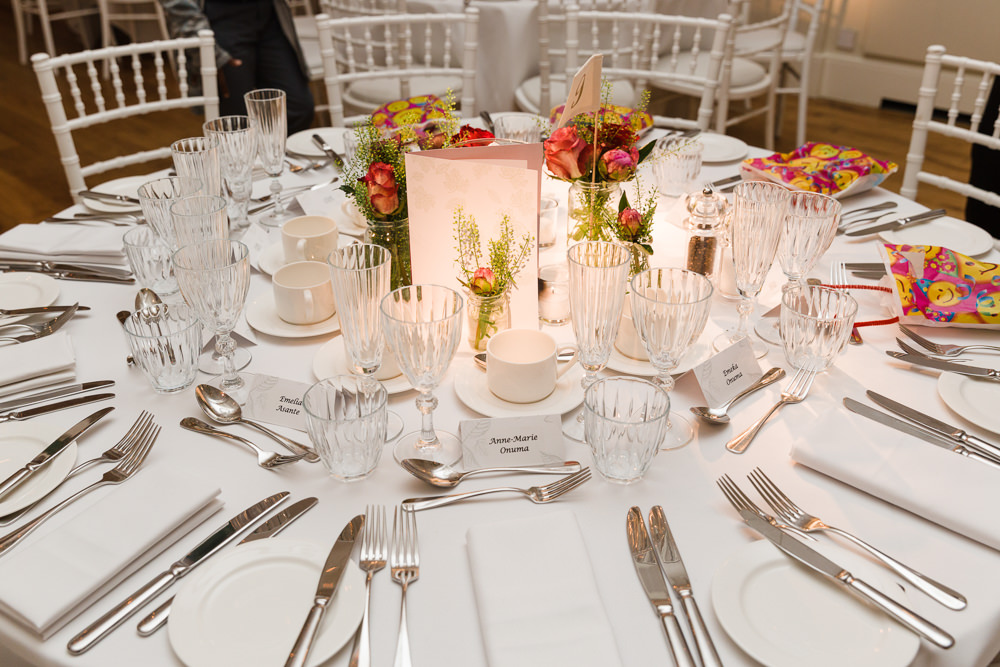 Table Place Setting Jars Flowers Florals Stoke Place Wedding Hannah McClune Photography