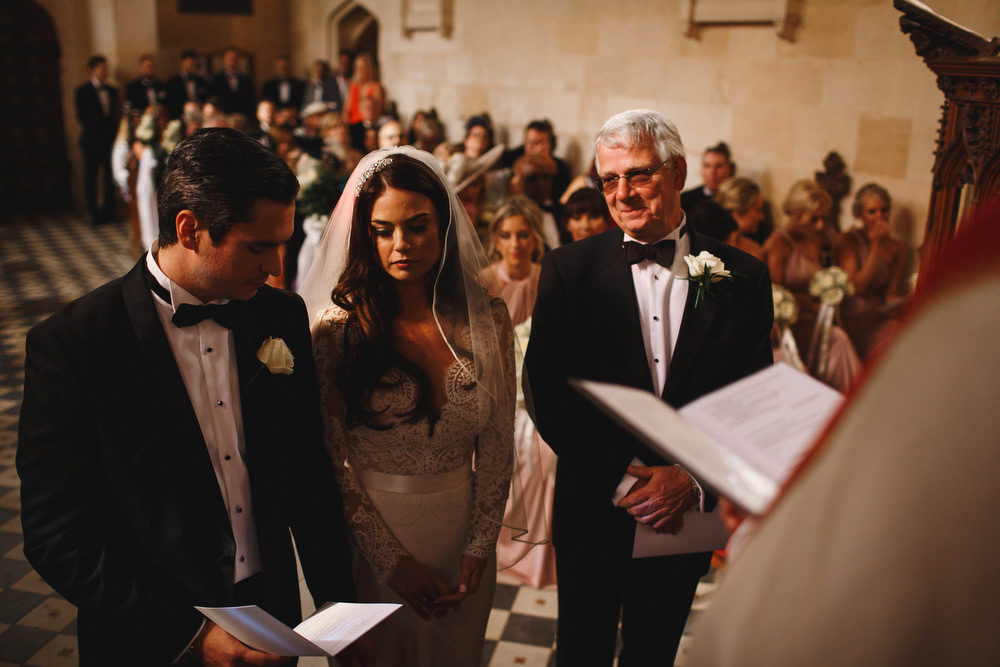 Cotswolds Royal Castle Summer Autumn Traditional Classic Elegant Father Bride Groom Ceremony Long Sleeve Lace White Bouquet   Sudeley Castle Wedding ARJ Photography