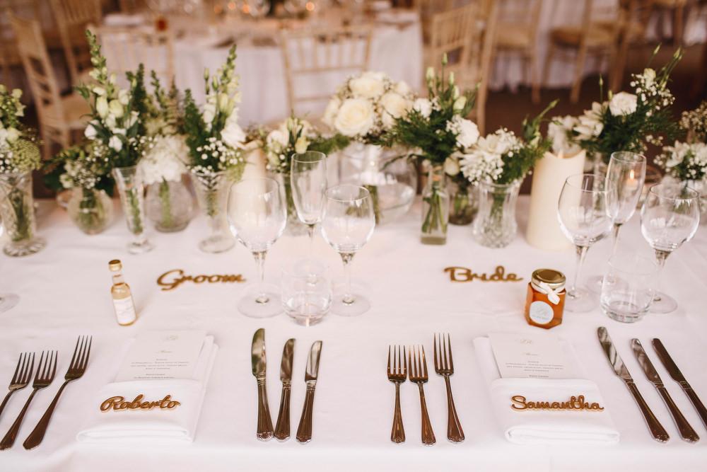 Cotswolds Royal Castle Summer Autumn Traditional Classic Elegant Simple White Decor Laser Cut Place Card Mini Wine Honey Favours   Sudeley Castle Wedding ARJ Photography