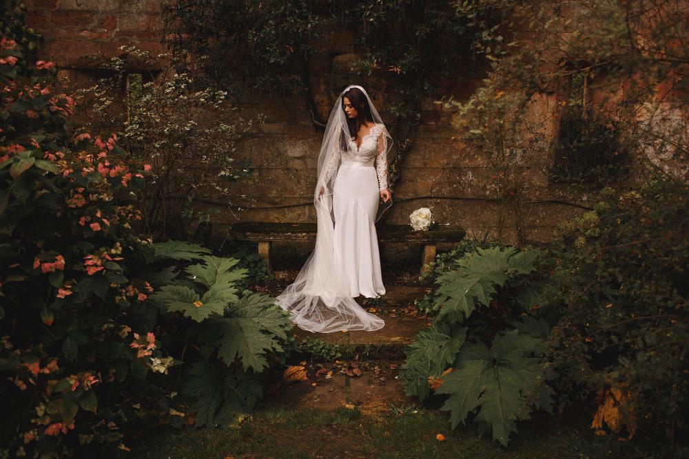 Cotswolds Royal Castle Summer Autumn Traditional Classic Elegant Ivy Bride Portraits Long Sleeve Lace Suzanne Neville   Sudeley Castle Wedding ARJ Photography