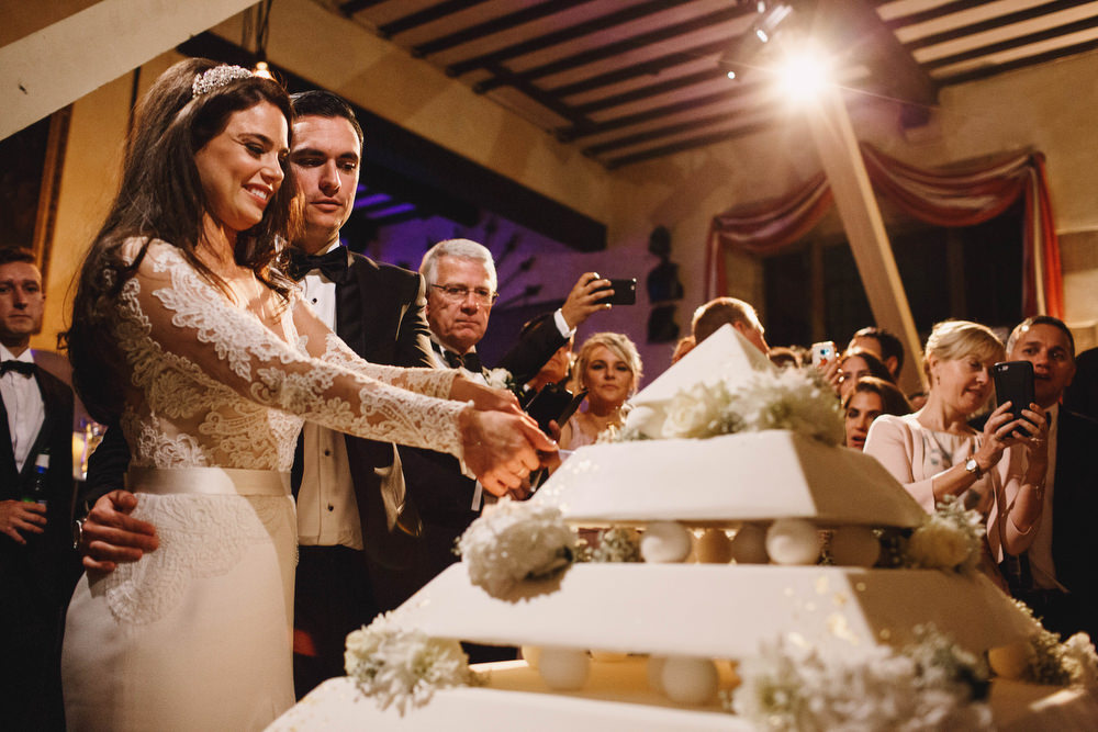 Cotswolds Royal Castle Summer Autumn Traditional Classic Elegant Bride Groom Dinner Reception Pyramid Cake Cutting   Sudeley Castle Wedding ARJ Photography