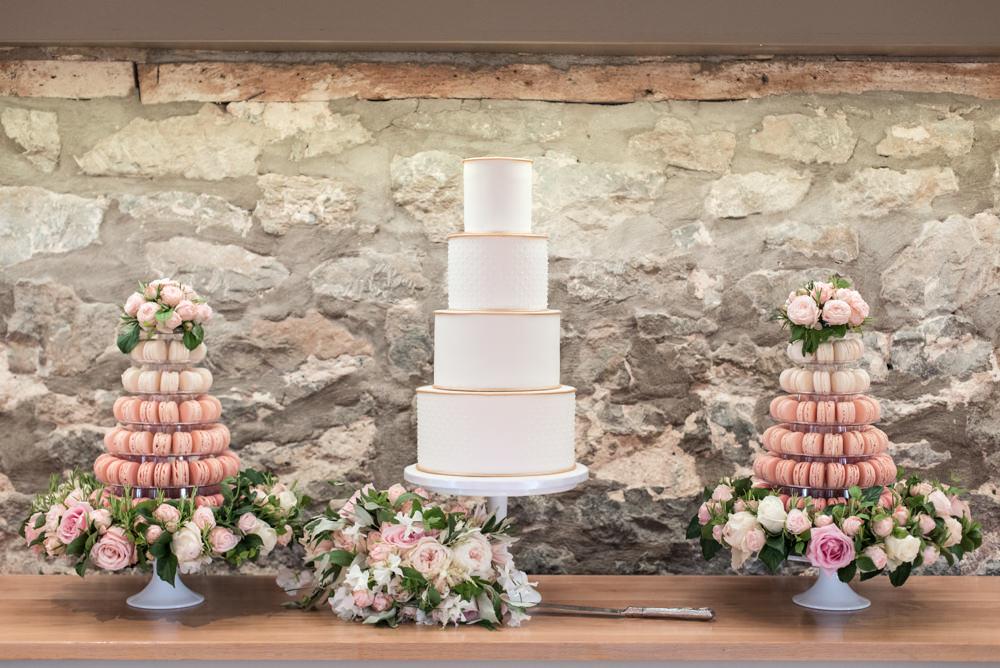 Cake Table Flowers Macaron Pink Cream Gold Tythe Barn Priston Mill Wedding Eleanor Jane Photography