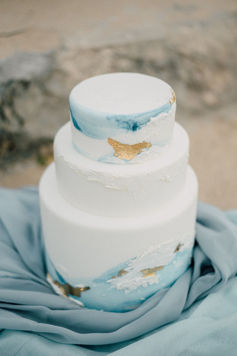 Outdoor Wild Nature Destination Spain Europe Beach Styled Shoot White Watercolor Brush Cake Gold Leaf   Blue Ibiza Elopement Ideas and Surprise Proposal Serena Genovese Photography