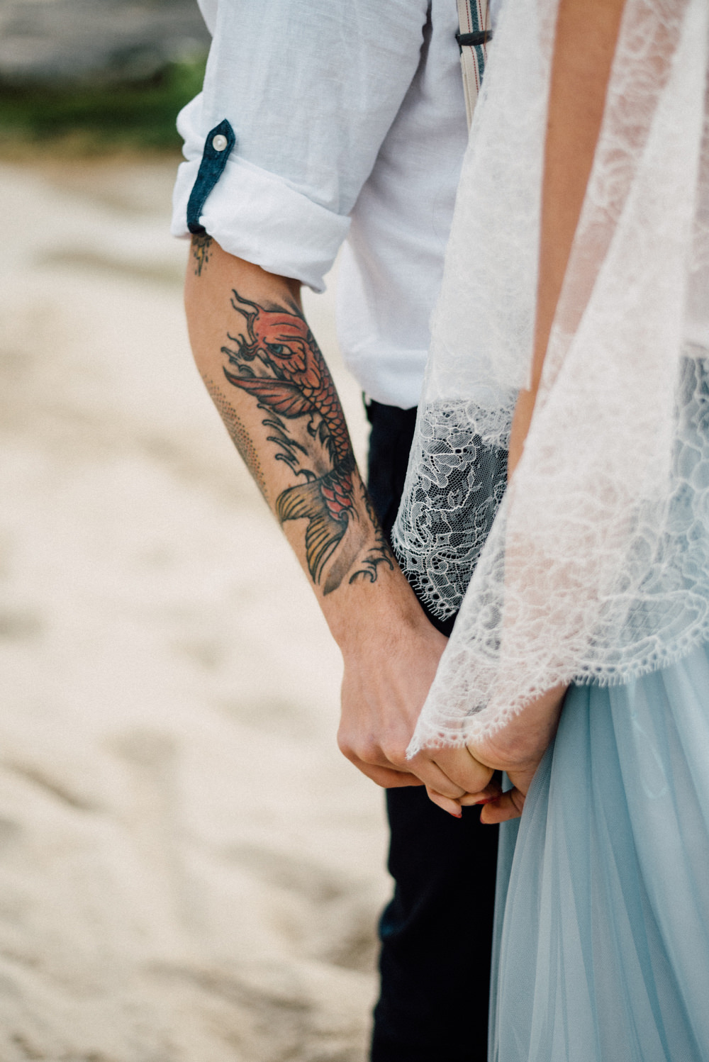 Outdoor Wild Nature Destination Spain Europe Beach Styled Shoot Groom Braces Bride Blue Gown Lace Tattooed   Blue Ibiza Elopement Ideas and Surprise Proposal Serena Genovese Photography