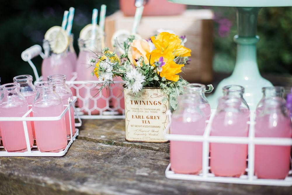 Pink Milk Bottle Drinks Straws Colourful Bohemian Floral Wedding Ideas Anna Beth Photography